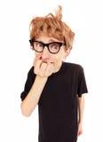 Stressed nerd. Sad guy isolated on white Royalty Free Stock Photos