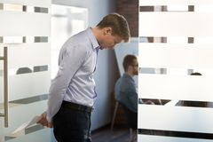 Free Stressed Nervous Businessman Thinking Of Problem Waiting For Mee Stock Images - 128078064