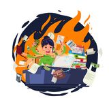 Stressed office girl working quickly and busy with fire in backg. Round. character design - vector illustration Stock Images