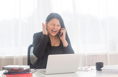 Stressed office woman stock image