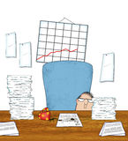 Stressed Office Worker With Piles of Paperwork Royalty Free Stock Images