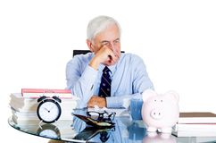 Stressed old man in office Royalty Free Stock Image