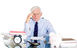 Stressed old man in office Royalty Free Stock Photos