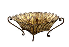Stressed Ornate Metal Bowl with Curved Legs Stock Image