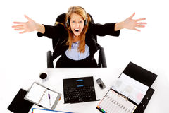 Stressed out business woman Royalty Free Stock Photo