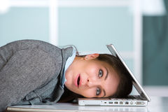 Stressed out business woman Royalty Free Stock Images