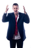 Stressed out businessman screaming Royalty Free Stock Photo