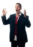 Stressed Out Businessman Screaming Isolated On White Royalty Free Stock Photos