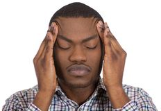 Stressed out guy with a bad head ache Stock Images