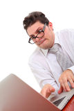 Stressed out man with computer. On white background Royalty Free Stock Images