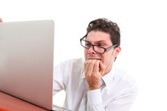 Stressed out man with computer Royalty Free Stock Images