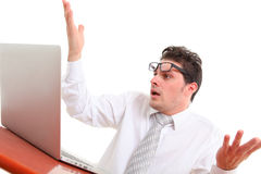 Stressed out man with computer Stock Photography