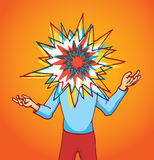 Stressed out man with exploding head Royalty Free Stock Images