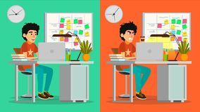 Stressed Out Man Vector. Young Coder Working At Office. Stressful Work, Job. Tired Junior Programmer. Person. Hard. Career. Company Employee. Software Royalty Free Stock Photo
