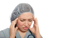 Stressed out nurse Royalty Free Stock Image