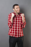 Stressed out 40s man fighting for a competition Royalty Free Stock Photography