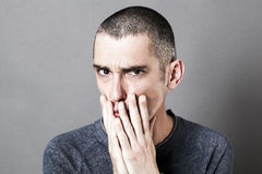 Free Stressed Out Unhappy Man Having Doubts, Showing Suspicion And Disappointment Royalty Free Stock Photos - 77244288