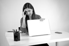 Stressed out woman closing computer Royalty Free Stock Photo