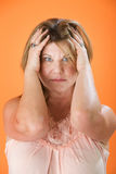 Stressed Out Woman with Headache Stock Photography