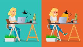 Stressed Out Woman Vector. Blonde Girl Working At Office. Stressful Work, Job. Tired Business Person. Hard Career. Calm. Company Employee. Cartoon Character Stock Images