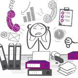Stressed out women in office at the desk surrounded by hands wit. Exhausted and stressed business woman in office. Cartoon  illustration Royalty Free Stock Image