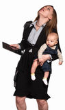 Stressed Out Working Mom. Stressed out professional women with baby over white background stock photos