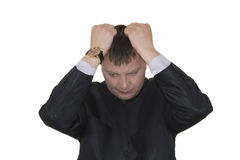 Stressed out young business man royalty free stock photo