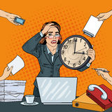 Stressed Pop Art Business Woman with Big Clock at Deadline Multi Tasking Office Work Royalty Free Stock Image