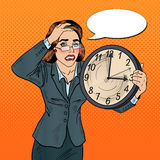 Stressed Pop Art Business Woman with Big Clock on Deadline Work stock illustration