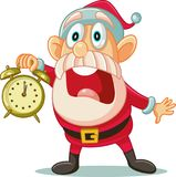 Stressed Santa with Clock in Big Hurry for Christmas. Illustration of a desperate Santa Claus announcing big sale Royalty Free Stock Photo
