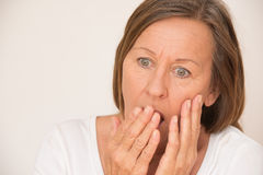 Stressed Scared shocked woman portrait Royalty Free Stock Images