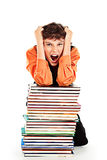Stressed schoolboy Royalty Free Stock Images