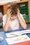Stressed Schoolboy Studying In Classroom Royalty Free Stock Image