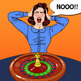 Stressed Screaming Woman Behind Roulette Table. Casino Gambling. Pop Art Royalty Free Stock Photos