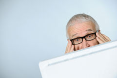 Stressed senior businessman. Horizontal image of stressed senior businessman Royalty Free Stock Photos
