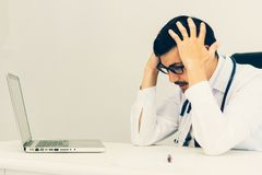 Stressed Senior businessman holding document binders on his head. Unsuccessful overworked people Stock Photography
