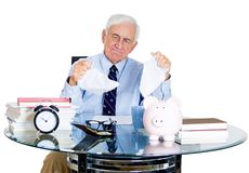 Stressed senior man in office Stock Images