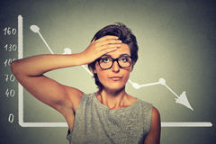 Stressed shocked woman in glasses with financial market chart graphic going down. On grey office wall background. Poor economy concept. Face expression, emotion Stock Photography