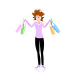 Really stressed shopping girl Stock Images