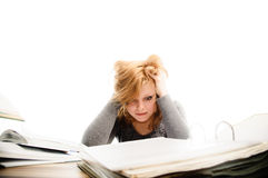 Stressed student revising for an exam Royalty Free Stock Photography