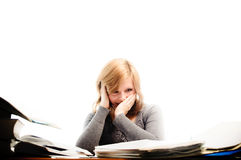 Stressed student revising for an exam Stock Image