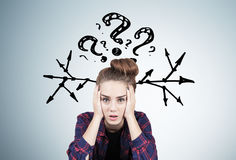 Stressed teen girl, questions and arrows Royalty Free Stock Image