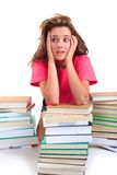 Stressed teenager with books Royalty Free Stock Photos