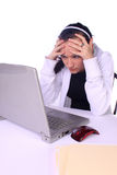 Stressed Teenager with a Laptop Royalty Free Stock Images