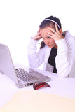 Stressed Teenager with a Laptop Royalty Free Stock Image