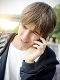 Stressed Teenager with Phone Stock Photos