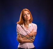 Stressed telephone worker Royalty Free Stock Image
