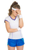 Stressed tennis player Stock Photo