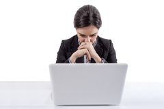 Stressed and tired business woman with a laptop Royalty Free Stock Photo