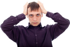 Stressed tired man Royalty Free Stock Image